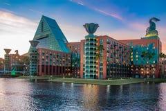 Walt Disney World Dolphin Hotel on sunset background in Lake Buena Vista area 5