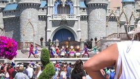 Walt Disney World. Magic Kingdom. Orlando. USA. Walt Disney World, Orlando, Park Magic Kingdom, people walking, Cinderella Castlem Florida. USA stock footage