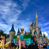 Walt Disney World Parade Party. Mickey in front of Cinderella Castle at Walt Disney World magic kingdom parade party,Orlando,Florida 2015 Royalty Free Stock Image