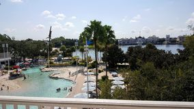 Walt Disney World Yacht Club Resort 2. View of pool from balcony at Walt Disney World Yacht CLub Resort in Orlando ,Florida royalty free stock photography