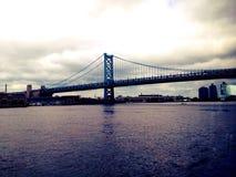 Walt Whitman Bridge. On the Delaware River Royalty Free Stock Photo