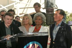 Walter Koenig, Nichelle Nichols, George Takei, Grace Lee, Grace Lee Whitney. Walter Koenig, GraceLee Whitney, Nichelle Nichols and George Takei at Doohan's royalty free stock images