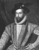 Walter Raleigh. (1552-1618) on engraving from the 1800s. English aristocrat, writer, poet, soldier, courtier and explorer. Engraved by J. Pofselwhite and Royalty Free Stock Photos