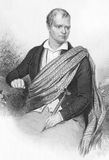 Walter Scott. (1771-1832) on engraving from the 1800s. Scottish historical novelist and poet. Engraved by A.H. Payne and published in Leipzig Royalty Free Stock Photo