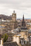 The Walter Scott monument and the Balmoral building stock photo