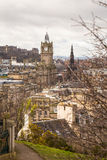The Walter Scott monument and the Balmoral building royalty free stock photography
