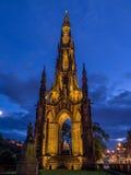 Walter Scott Monument, Edinburgh. Walter Scott Monument and Edinburgh at night from Princes Street Royalty Free Stock Image
