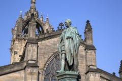 Walter Scott Statue vid Bohem, kunglig mil; Lawnmarket; Edinburg; Royaltyfri Foto