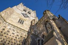 Waltham修道院教会和哈罗德Statue国王 库存照片