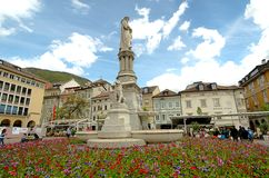 The Walther monument in Bolzano. stock photo
