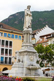 Walther Square. In Bolzano (Italy) with detail of monument of the ministrel Walther von der Vogelweide Stock Images