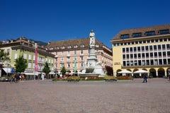 Walther Square i Bolzano, Italien Fotografering för Bildbyråer