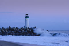 Walton Lighthouse at Dusk. Walton Lighthouse near Santa Cruz, California at Dusk Stock Images