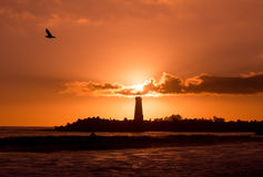 Walton Lighthouse Sunset Immagine Stock