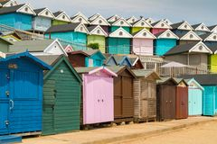 Walton-on-the-Naze, Essex, England, UK. May 29, 2017: Rows of beach huts at the Southcliff Promenade Royalty Free Stock Images