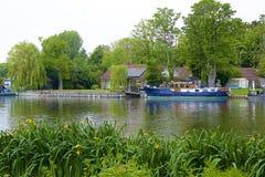Walton-on Thames, England. Life on the Thames river, England royalty free stock photo