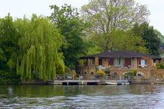 Walton-on Thames, England. Life on the Thames river, England stock image