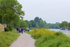 Walton-on Thames, England. Life on the Thames river, England royalty free stock image