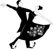 Waltz clip-art. Black vector silhouette clip art of a couple dancing waltz, no white, will look the same on any color background Royalty Free Stock Photo