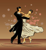 Waltz of love on brown background. A waltz is dance of falling in love Stock Image