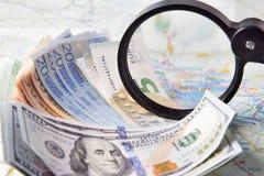 Waluta na mapie Berlin Zdjęcia Stock