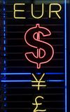 waluta neonowi symboli Obrazy Stock