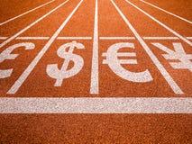 Waluta symbole na bieg śladu początku ilustracji