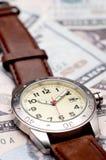 waluty amerykański wristwatch Fotografia Royalty Free
