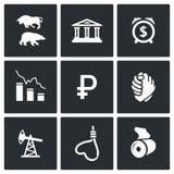 Waluty dewaluaci ikony również zwrócić corel ilustracji wektora Zdjęcia Stock