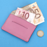 waluty euro portfel Obrazy Royalty Free