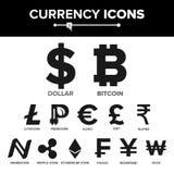 Waluty ikony znaka Ustalony wektor pieniądze Sławna Światowa waluty kryptografia Finansowa ilustracja Bitcoin, Litecoin Fotografia Royalty Free