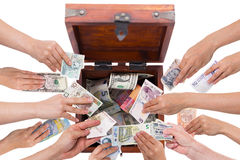 Waluty pojęcia crowdfunding odizolowywam na bielu obrazy royalty free