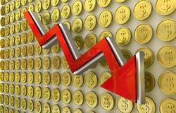 Waluty zawalenie się - dolar Obraz Royalty Free