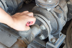 Walv da rotação do uso da mão na indústria do matchine imagem de stock