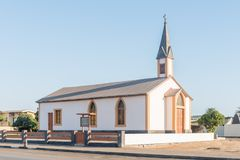 Rhenish Mission Church in Walvis Bay. WALVIS BAY, NAMIBIA - JULY 1, 2017: The Rhenish Mission Church in Walvis Bay was pre-fabricated 1879 in Hamburg and shipped stock photos