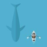 Walvis die dichtbij boot zwemmen Stock Illustratie