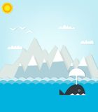 Walvis die op een achtergrond van bergen drijven Royalty-vrije Stock Afbeeldingen