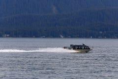 Walvis het letten op boot op Juneau, Alaska royalty-vrije stock afbeeldingen