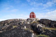 Walvis het letten op toren in Qeqertarsuaq, Groenland royalty-vrije stock foto's