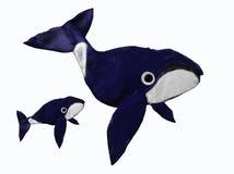 Walvis met baby stock afbeelding