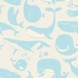 Walvis. Naadloze achtergrond. Het naadloze patroon kan voor wal worden gebruikt Royalty-vrije Stock Fotografie