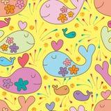 Walvis zoals de glimlach van de vliegtuigbloem binnen naadloos patroon royalty-vrije illustratie
