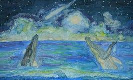 Walvissen die op een dalende ster letten royalty-vrije illustratie