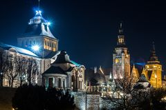 Waly Chrobrego/Hakken terrass i Szczecin, Polen arkivfoton
