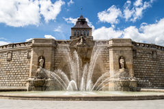 Waly Chrobrego Promenade (Hakenterrasse) - fountain. POLAND, SZCZECIN - 30 JUNE 2014: Waly Chrobrego Promenade (Hakenterrasse) - fountain Stock Images