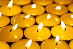 Wam colored tealight candles Royalty Free Stock Images