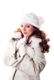 Waman in white cap and coat Royalty Free Stock Photos