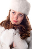 Waman in white cap and coat stock photography