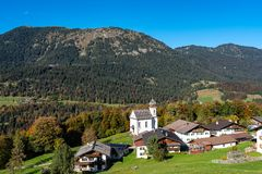 Wamberg near Garmisch is Germany`s highest-altitude village. stock photo