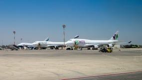 Wamos et avions d'EL AL à l'aéroport de Ben-Gurion l'israel Image libre de droits